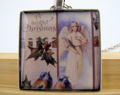 Resin Pendant, A Bright Christmas, Birds, Angel, Holly, White, Blue, Red, Green, Brown, 1 1/2 Inch, Square