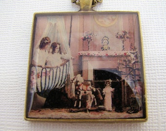 Resin Pendant, Christmas in the Nursery, Pink, White, Black, Children, Crib, Fireplace, Christmas Tree, 1 1/2 Inch, Square