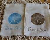 Set of 10 Hand stamped Sand Dollar Beach Wedding Party Muslin Gift Favor Bags100% organic made in america