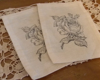 Set of 10 Hand stamped  Rose  Muslin Party Favor Bags 100% organic made in america