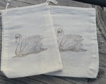 Set of 10 Hand stamped Swan Bag Muslin Party Favor Bags 100% organic made in america