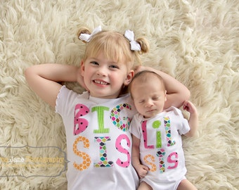 Big Sister Little Brother Little Sister Big Brother sibling shirts onesies set gift baby shower photo prop Patches and Puppies