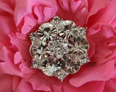 Rhinestone Buttons -Vintage Metal Blossom Button - CLEAR Stones - 26mm - set of 5