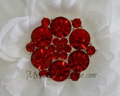 Rhinestone Buttons, vintage metal - Blossom Button - Red Stones - 26mm - set of 5