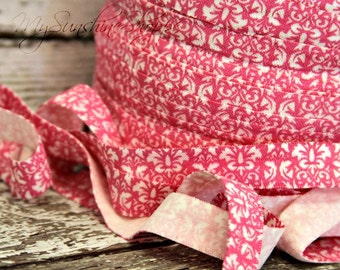PRINTED 5/8th inch fold over elastic FOE - 5 yards - Pink and White Vintage Damask