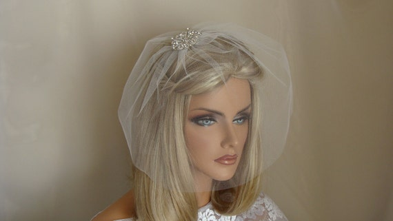 10 inch Classic Tulle Birdcage Blusher Veil  White  Ivory Pink or  Black