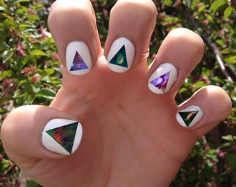 Galaxy // Space // Cosmic // Stars //Nebula // Planets // Triangle Nail Decals Transfer Nail Stickers