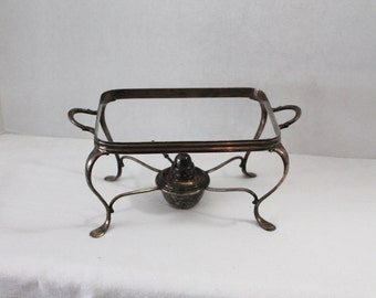 Vintage Silver Plate Footed Chafing Casserole Dish Holder and Burner