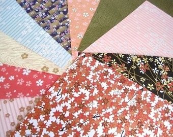 Chiyogami Origami paper pack, Yuzen japanese paper, collage scrapbook paper, colorful variety patterns,  summer craft projects