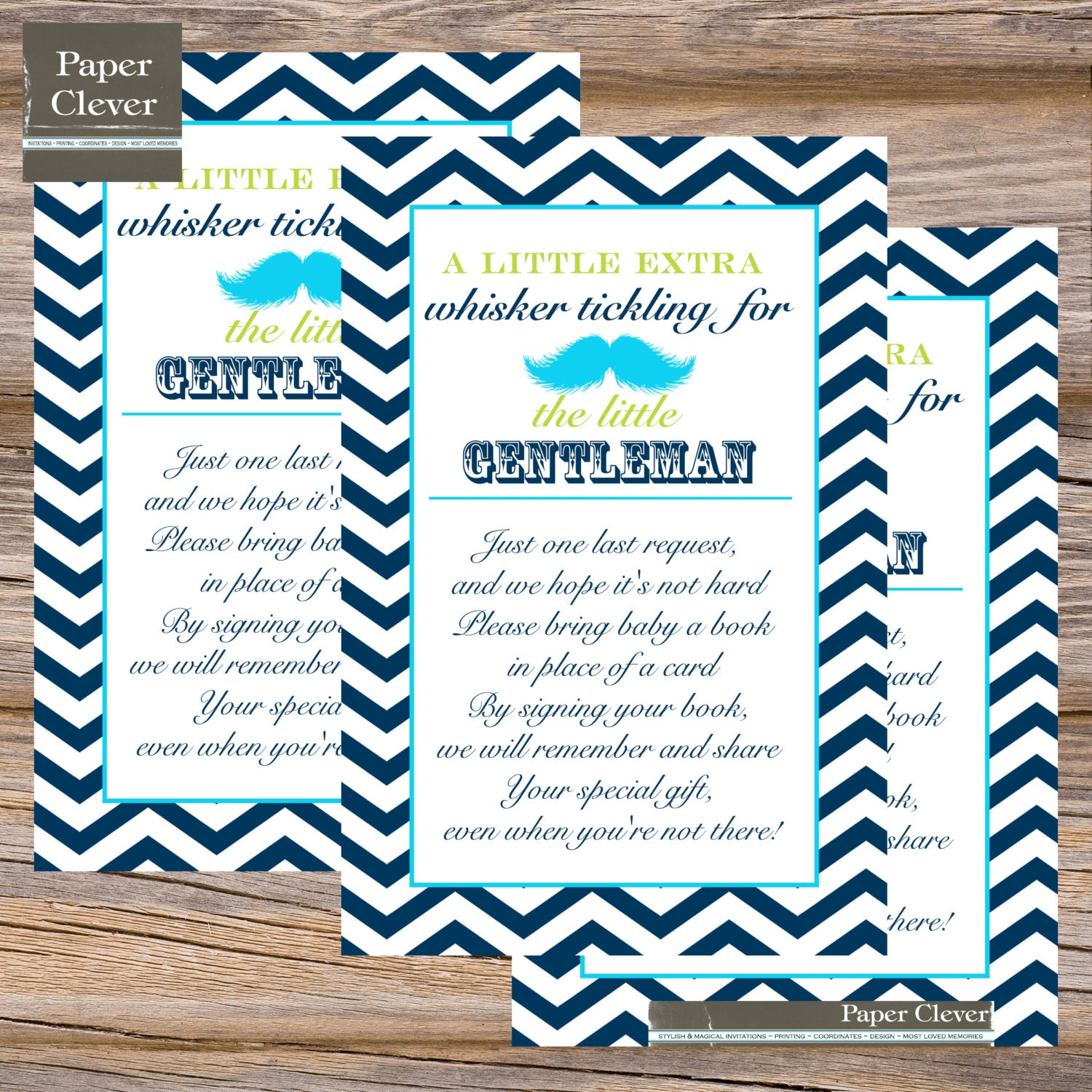 baby shower invitation insert card little man mustache in any colors
