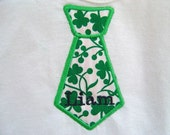 St. Patrick's Day Personalized Baby Boy Onesie with Tie Applique