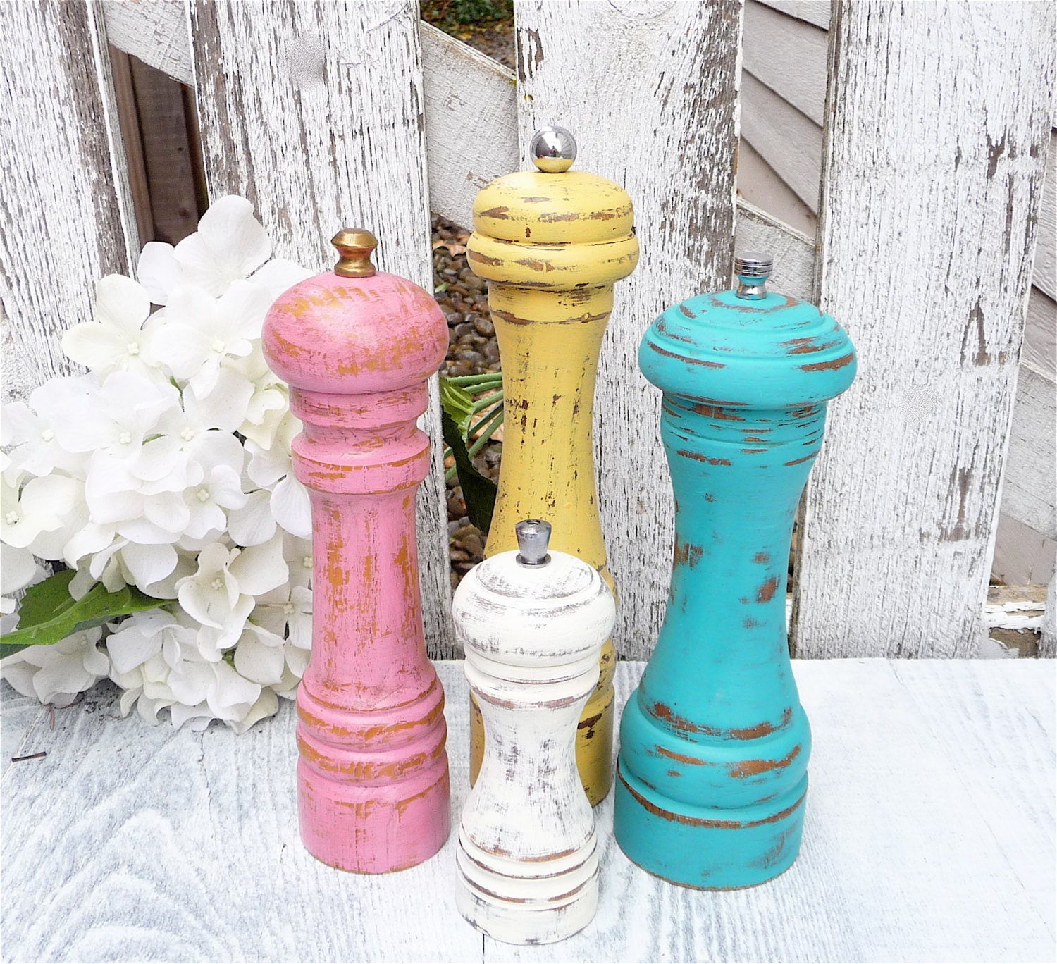 Shabby chic pepper mill pepper grinder custom by Funky salt and pepper grinders