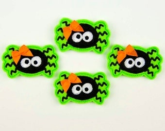 SPIDER - Embroidered Felt Embellishments / Appliques - Lime Green & Black  (Qnty of 4) SCF3105