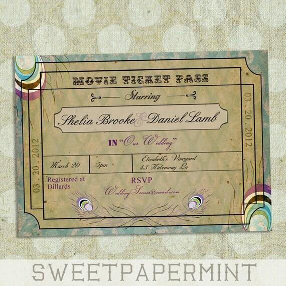 Items Similar To Peacock Movie Ticket Wedding Invitation Card Vintage