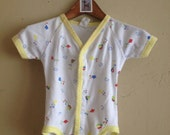 Vintage Cotton Kite Print V Neck Onesie 0-3 Months