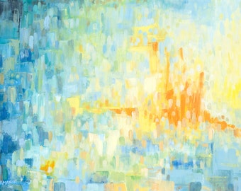 """Wrapped Canvas Giclee Reproduction: Dreamy Blue Abstract with Greens, Orange and Yellow 36x24 on 1.5"""" Stretchers"""