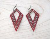 Dagger Lasercut Leather Earrings - Red