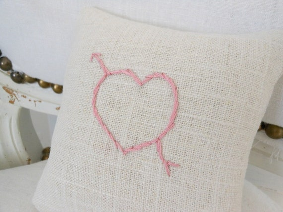 Heart embroidered pincushion, natural linen pincushion with pink embroidered heart