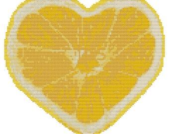 Modern Cross Stitch Kit 'Lemon Heart' Needlecraft kit