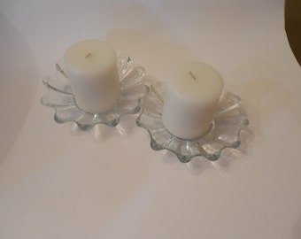 Very Nice Pair of Glass Candle Holders FREE SHIPPING
