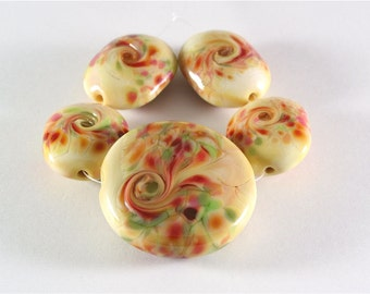 Handmade Lampwork Glass Bead Set - Yellow Pink Green Set of 5 with Focal SRA