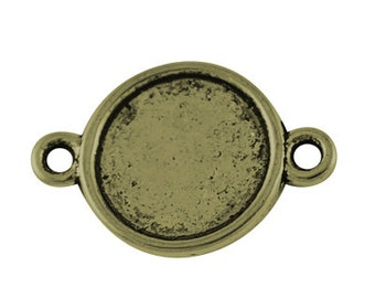 FREE SHIPPING within USA, 100 pcs Antique Bronze Round Cabochon Connector, inner tray 10mm