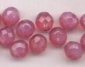 Twelve Czech firepolished glass  beads - 12 mm - gorgeous opalescent dusty pink