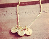 Personalized Letter Initial Stamped Charm Necklace 24K GOLD Plated Alloy 6mm Round Disc Monogram Letter Alphabet