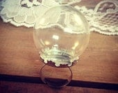 1 Pc Clear Sphere Bottle Ring SILVER Glass Terrarium Bottle Ring Apothecary Vintage Style Pendant Charm Jewelry Supplies (DA016/DA99)