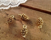 Pine cone Charms 24k Matte Gold Plated Pinecone Charm Woodland Charm Cone Small Charm Vintage Style Pendant Charm Jewelry Supplies (D007)