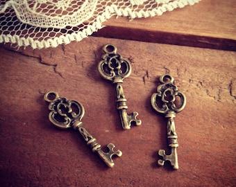 8 Pcs Skeleton Key Charms Antique Bronze Key Charm Victorian Key Charm Old Fashioned Key  Vintage Style Pendant Jewelry Supplies (BC105)