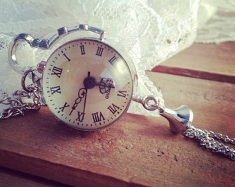 1 pc Vintage Style Round Pocket Watch Necklace Pendant Chain Included Whimsical SILVER  X002