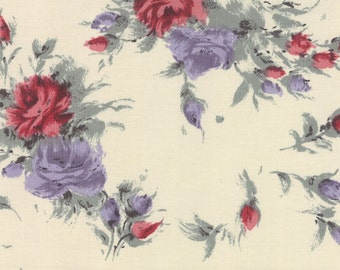 SALE - Moda - Padstow Range - Cabbages and Roses - Lavender and Red on Ivory - By the Yard