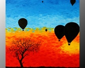 "Hot Air Balloon Painting AcRyLiCs on Box Canvas oRiGiNaL ARtWoRk 12"" x 12""  by ArtworkbyJeni - ""Hot Air Balloon Festival"""