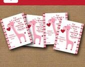 Girl Valentine Card   Giraffe Valentine   DIY PRINTABLE   Christian Scripture, Bible Verse Valentine   Classroom Exchange   Instant Download