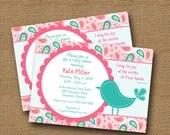 Bird Baby Shower Invitation   Baby Girl Invite   DIY PRINTABLE   Pink & Teal Paisley   Christian, Scripture, Bible Verse Card   Girl Shower