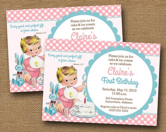 Baby's First Birthday Invitation | Vintage Baby Girl | Christian Scripture Birthday Invitation | Vintage First Birthday Cake | DIY PRINTABLE