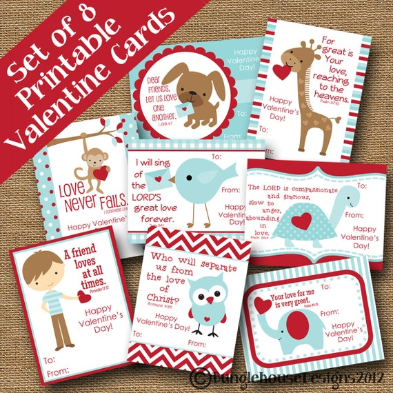 Kids Valentines DIY PRINTABLE Boys Classroom Valentines – Christian Valentine Cards for Kids
