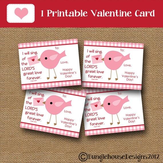 Girls Valentine Card Bird Valentine DIY PRINTABLE – Bird Valentine Card