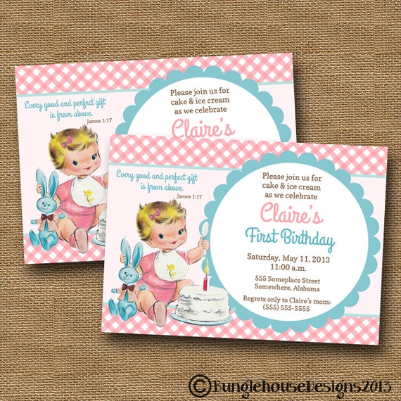 1 Year Baby Birthday Invitation Quotes: Baby's First Birthday Invitation Vintage Baby Girl