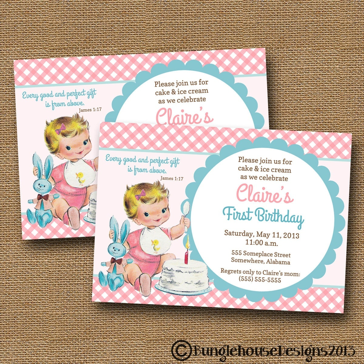 Babys First Birthday Invitation Vintage Baby Girl – Christian Birthday Verses for Cards