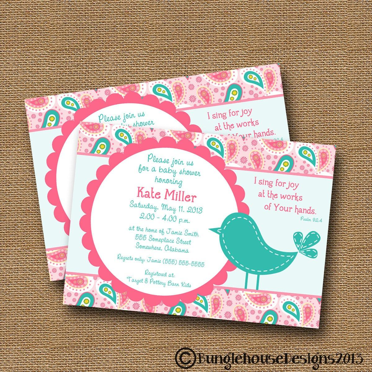 Bird Baby Shower Invitation Baby Girl Invite DIY PRINTABLE