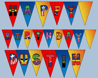 Personalized Superhero Bunting- digital file