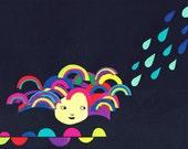 after the rain comes rainbow postcard
