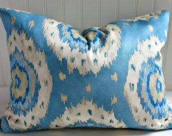 Blue, White and Taupe Suzani Pillow Cover / 16 X 20 / Richloom designer fabric
