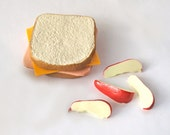 "Ham & Cheese Sandwich and Apple Slices for your 18"" doll and her American girl"
