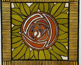 Small Linocut Rose Arts and Crafts Style Original Artwork