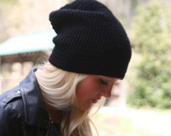 Slouchy Hat Beanie / THE ALCASTER / Lightweight Crochet Shimmer Beanie Hat Black