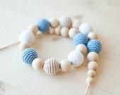 Nursing necklace / Teething necklace / Crochet nursing necklace - White, Light blue, Beige
