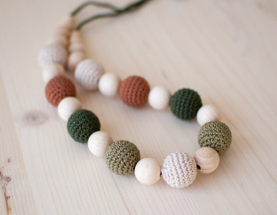 Nursing necklace / Teething necklace - Forest colours Green Khaki Beige Brown Neutral